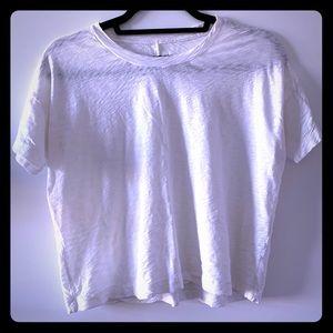 Rag & Bone cropped top t-shirt, white.
